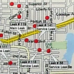 Map of city street with leak locations marked